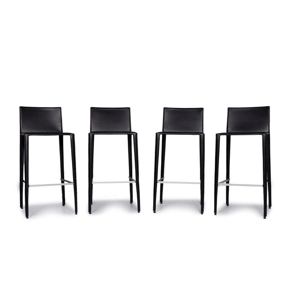 Swell Arper Leather Bar Stool Set Bistro 4X Armchair Black Modern Real Leather Swiss Air Lounge Zurich 10655 Camellatalisay Diy Chair Ideas Camellatalisaycom