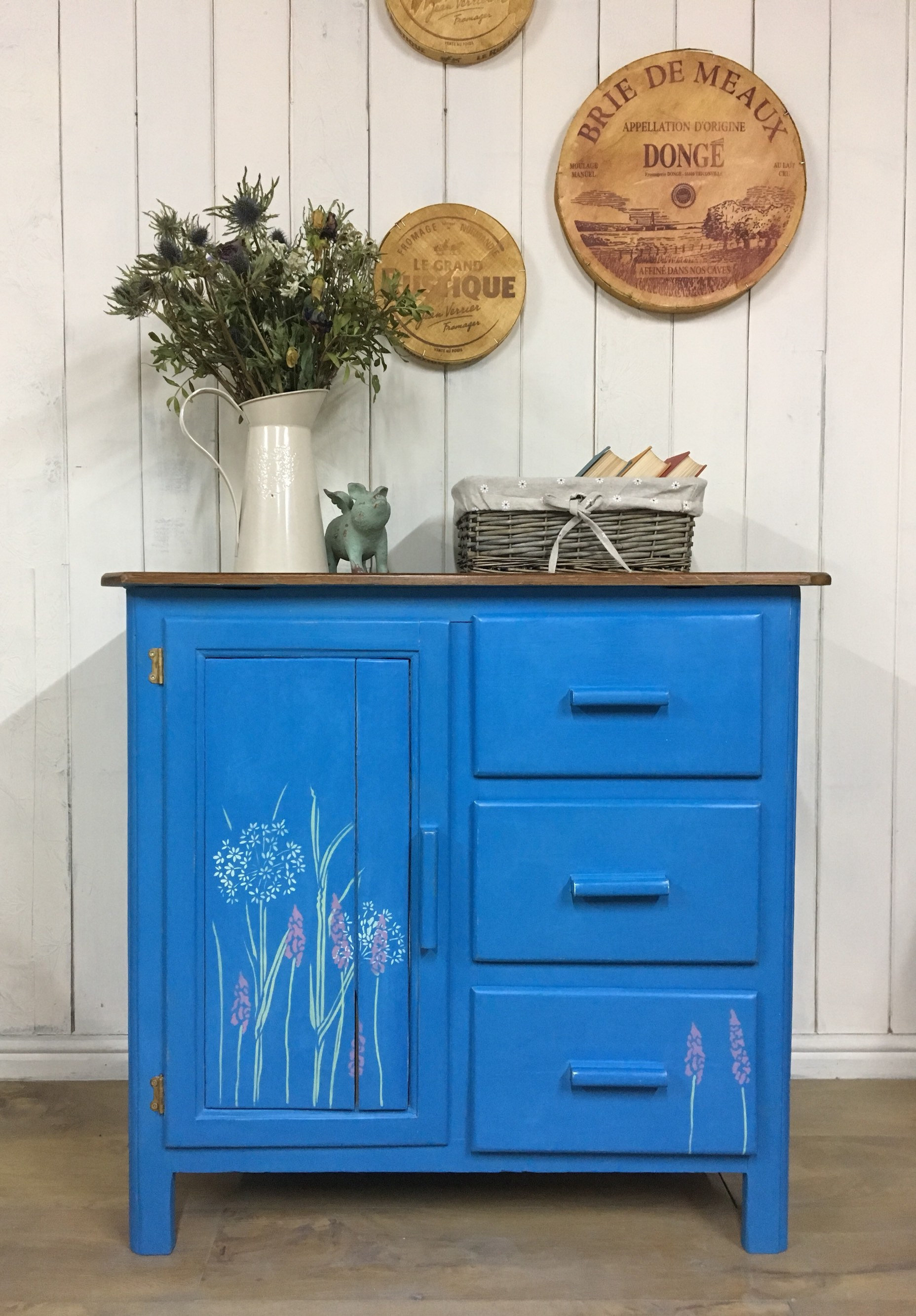Hand Painted Kitchen Cupboard Blue