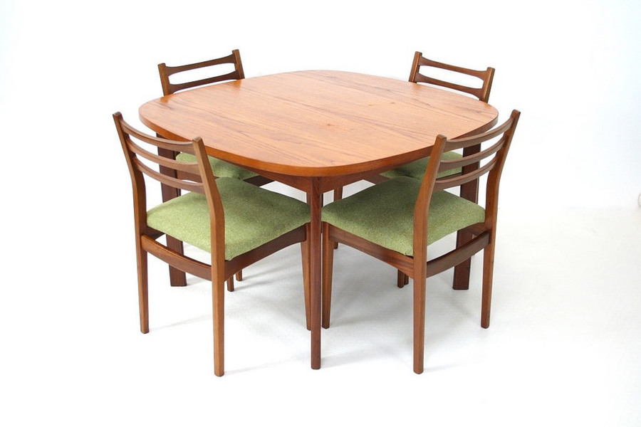 Vintage 1970s Teak Danish Influence Dining Table And Chairs