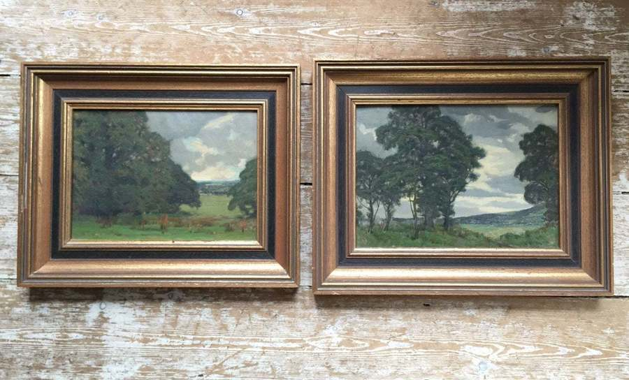 Pair Of Modern British Oil On Board Landscape Paintings
