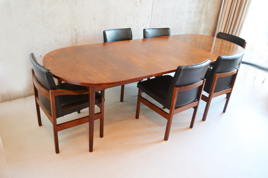 Very Long 1970's Swedish Dining Or Boardroom Table With 6 Chairs By Nils Jonsson For Troeds