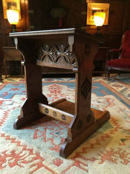 Antique Solid Oak Bible Stand Lectern Gothic Victorian 19th Century