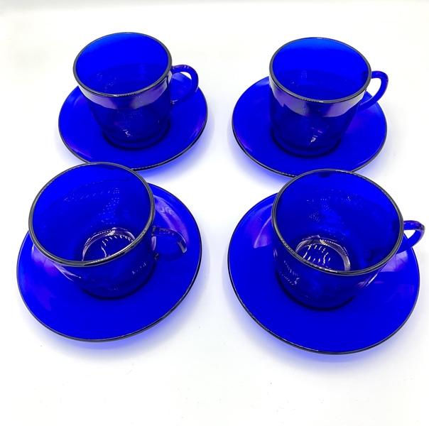 Vintage Cobalt Coffee Cups & Saucers (4)