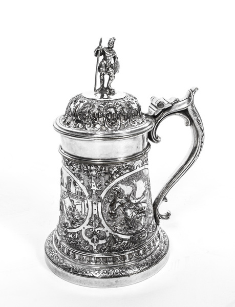 Antique English Silver Plate Lidded Tankard Jg & Sons C1860