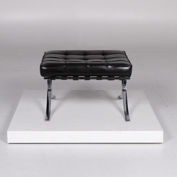 Knoll International Barcelona Chair Vintage Designer Leather Stool Black #10367