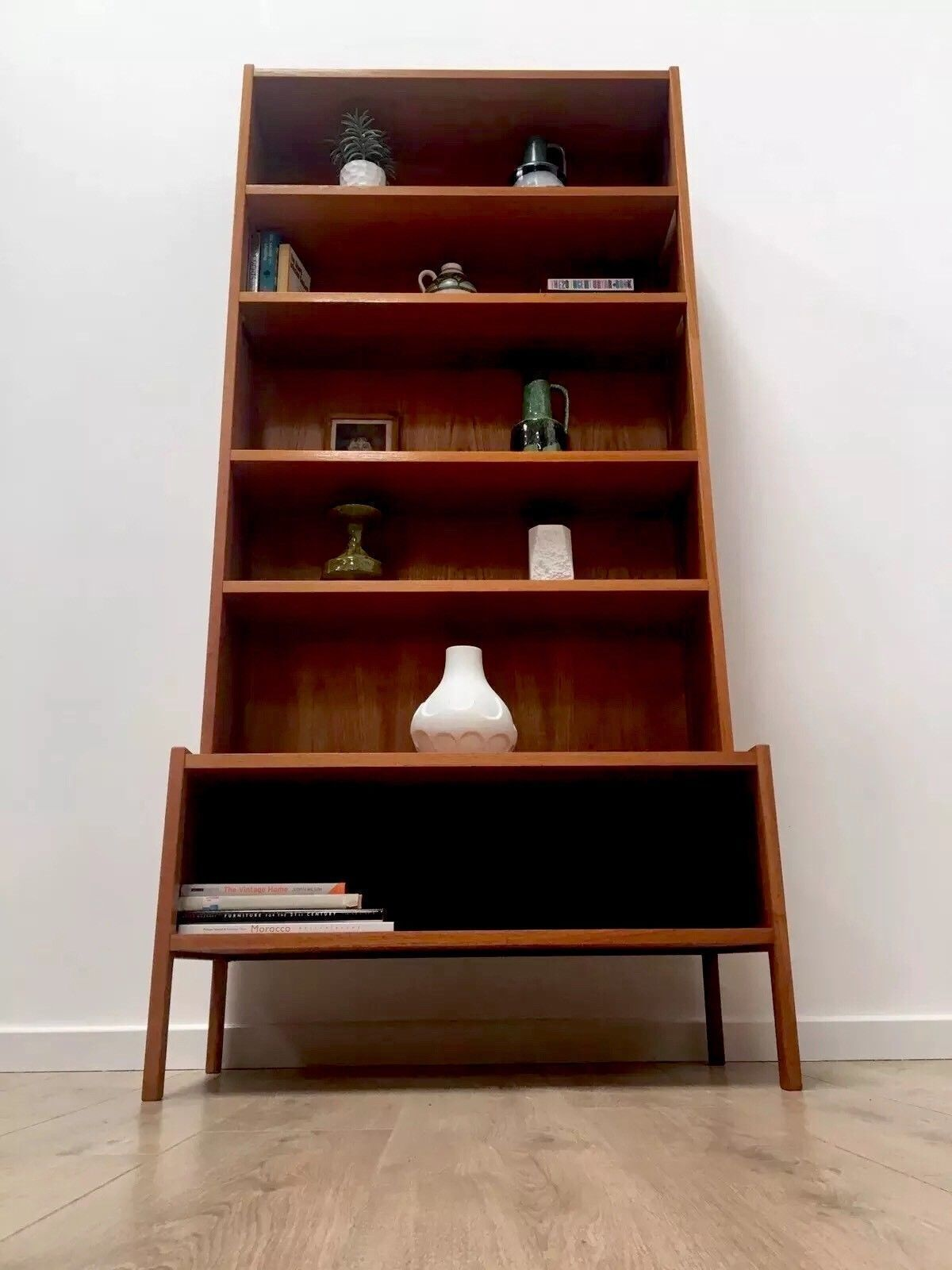 Mid Century Swedish Teak Freestanding Wall Shelving Book Case Display Unit