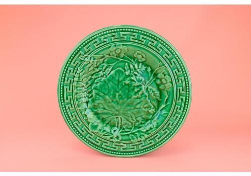 Small Plate In Green Majolica, English Late 19th Century