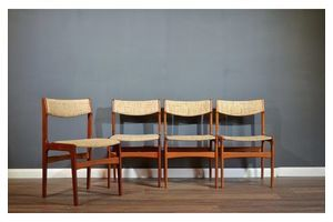 Thumb very rare set of 4 vintage danish erik buch teak chairs delivery modern mid century erik buch 1960s 0