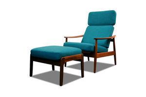 Thumb vintage arne vodder fd 164 teak lounge chair and ottoman 0