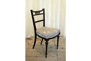 Thumb an ebonised aesthetic movement side chair in grey mauve embroidered silk 0