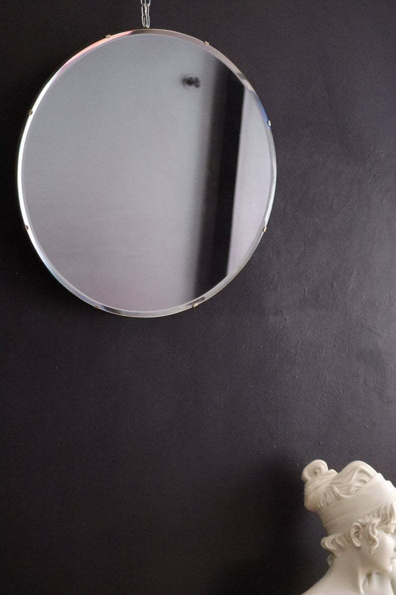 Large Classic Round Art Deco Mirror Frameless Simple And Elegant Vinterior
