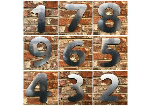 BIG GALVANIZED METAL HOUSE SHOP DOOR WALL NUMBERS SIGN VINTAGE RUSTIC INDUSTRIAL