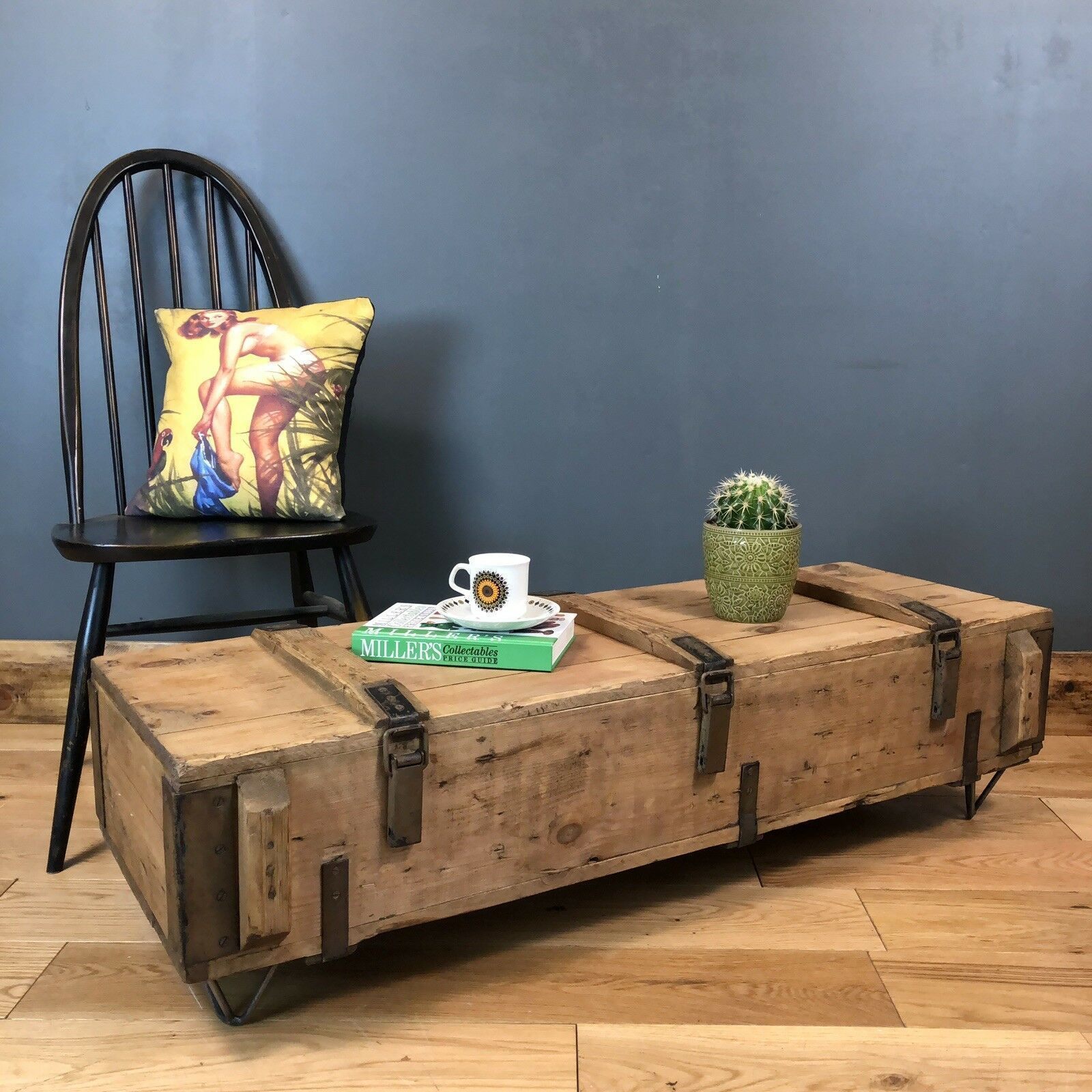 Picture of: Vintage Trunk Chest Box Rustic Pine Industrial Coffee Table Boho Low Storage Vinterior