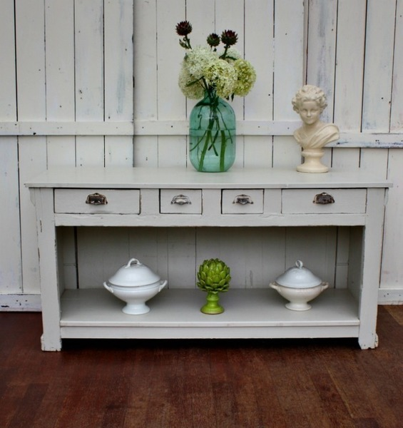 Vintage Solid Wood Painted Dresser Or Buffet