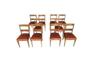 Thumb set of ten bronze fabric and walnut dining chairs italy 1930s 1940s unknown 0