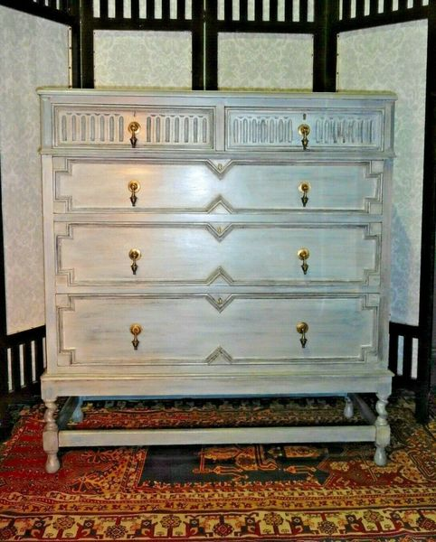 Handsome Vintage Refinished Jacobean Style Oak Chest Of Drawers