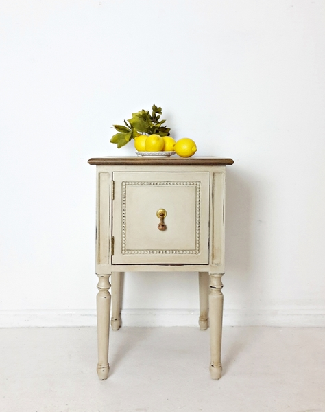 Bedside Table/ Cabinet. Nightstand. Hand Painted In Country Grey. French Chic. Country Chic.