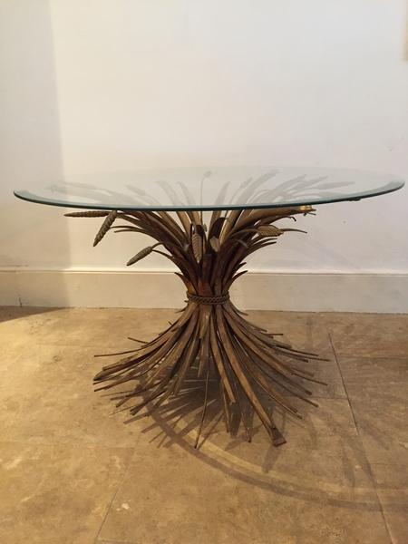 Mid Century Wheat Sheaf Side Table