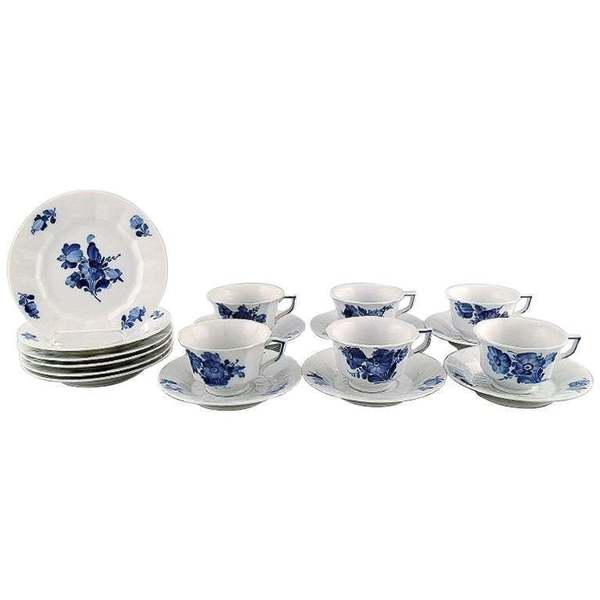 Royal Copenhagen Blue Flower Angular Set Of Six Coffee Cups With Saucers