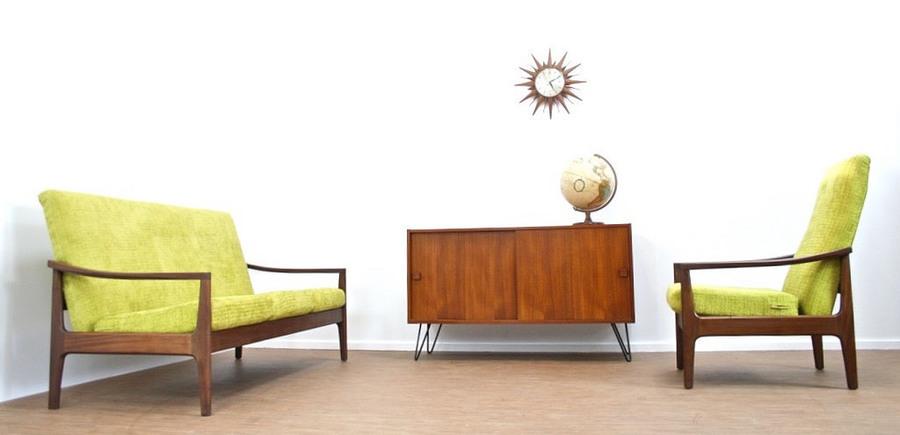 Stunning Vintage Teak Danish Design Two Piece Suite   Fully Re Upholsterd