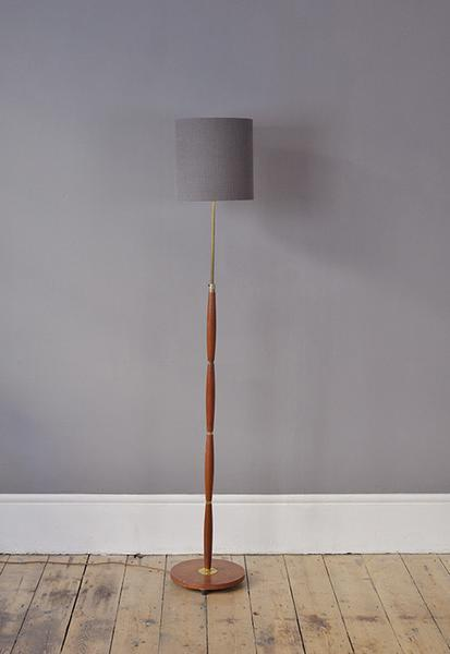 Curved Danish Floor Lamp With Brass Details photo 1