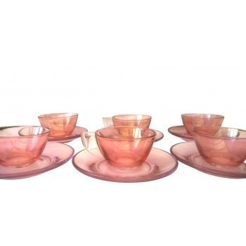 Elsa Pink Pyrex Coffee Cups And Saucers 1950s   Set Of Six