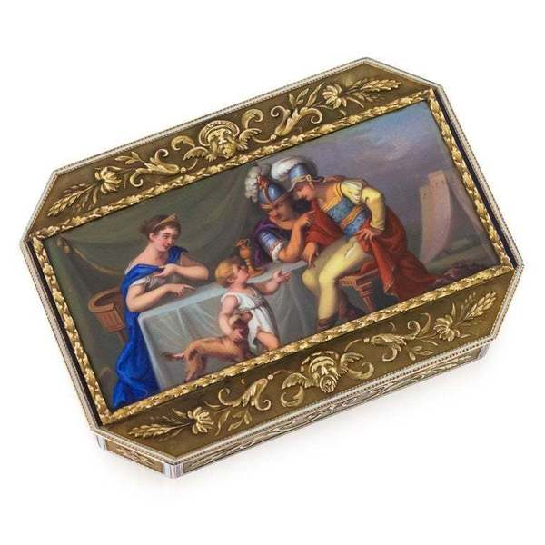19th C Swiss 18 K Gold & Enamel Snuff Box C.1800