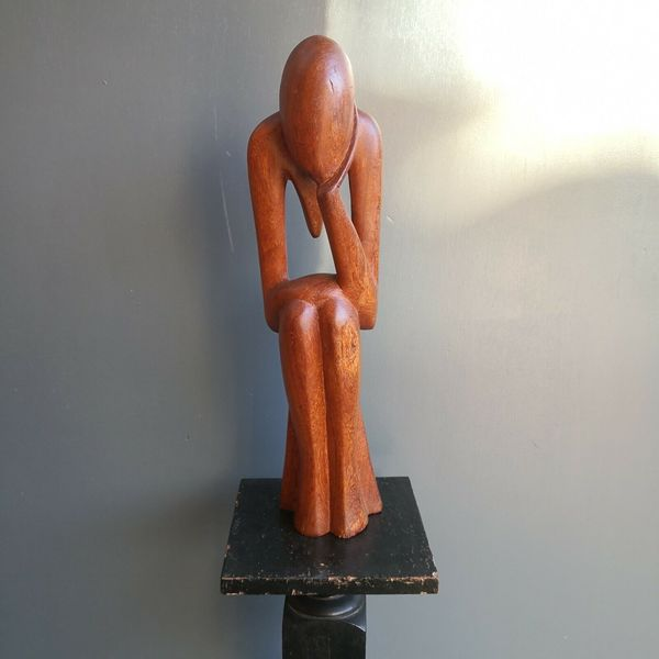 Vintage Mid Century Modernist Wooden Figure Sculpture