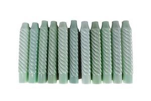 Thumb set of 10 rare antique french opaline twisted false candle chandelier replacement parts candle covers green glass faux candle 0