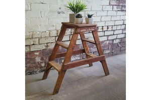 Thumb industrial 1920s h c slingsby double sided set of pine shop library steps 0