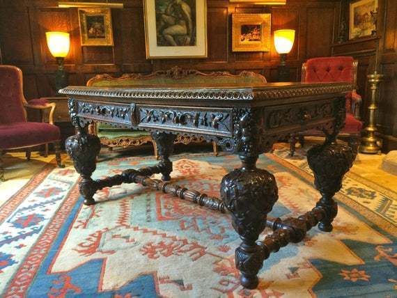 Quality Antique Table Solid Oak Carved Gothic Victorian Carved 19th Century