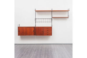 Thumb 1960s teak wall shelving system 0