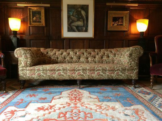 Magnificent Antique Howard Style Chesterfield Sofa Settee Button Back Victorian