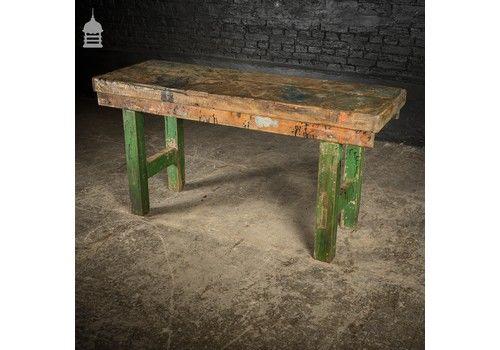 Vintage Industrial Wooden Workshop Work Bench