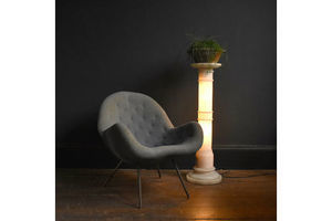 Thumb illuminated alabaster pedestal column vintage floor lamp 0