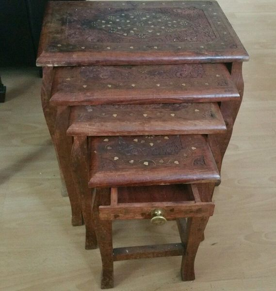 Set Of 4 Vintage Carved Mahogany Brass Inlaid Stacking Tables