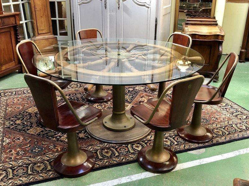 Mahogany And Brass Dining Table Chairs Set 1950s Vinterior