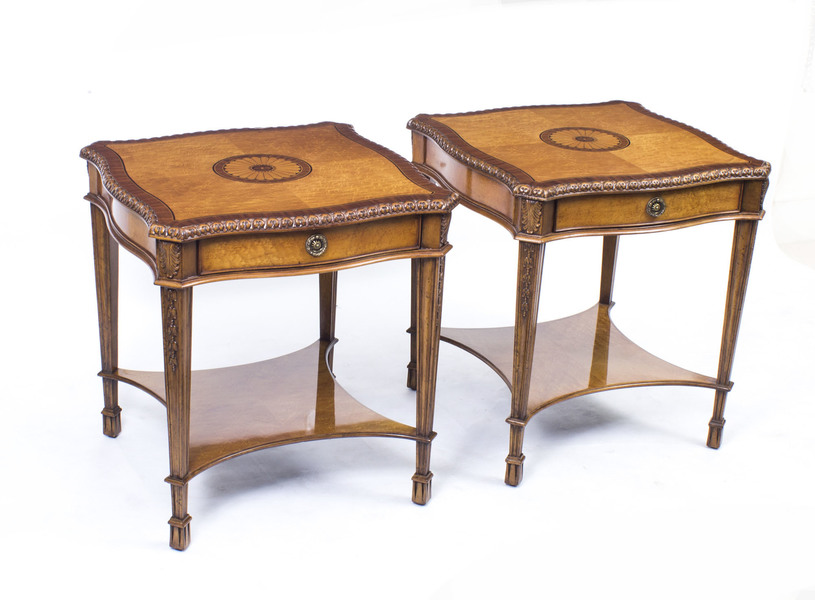 Stunning Pair Birdseye Maple Side Occasional Tables