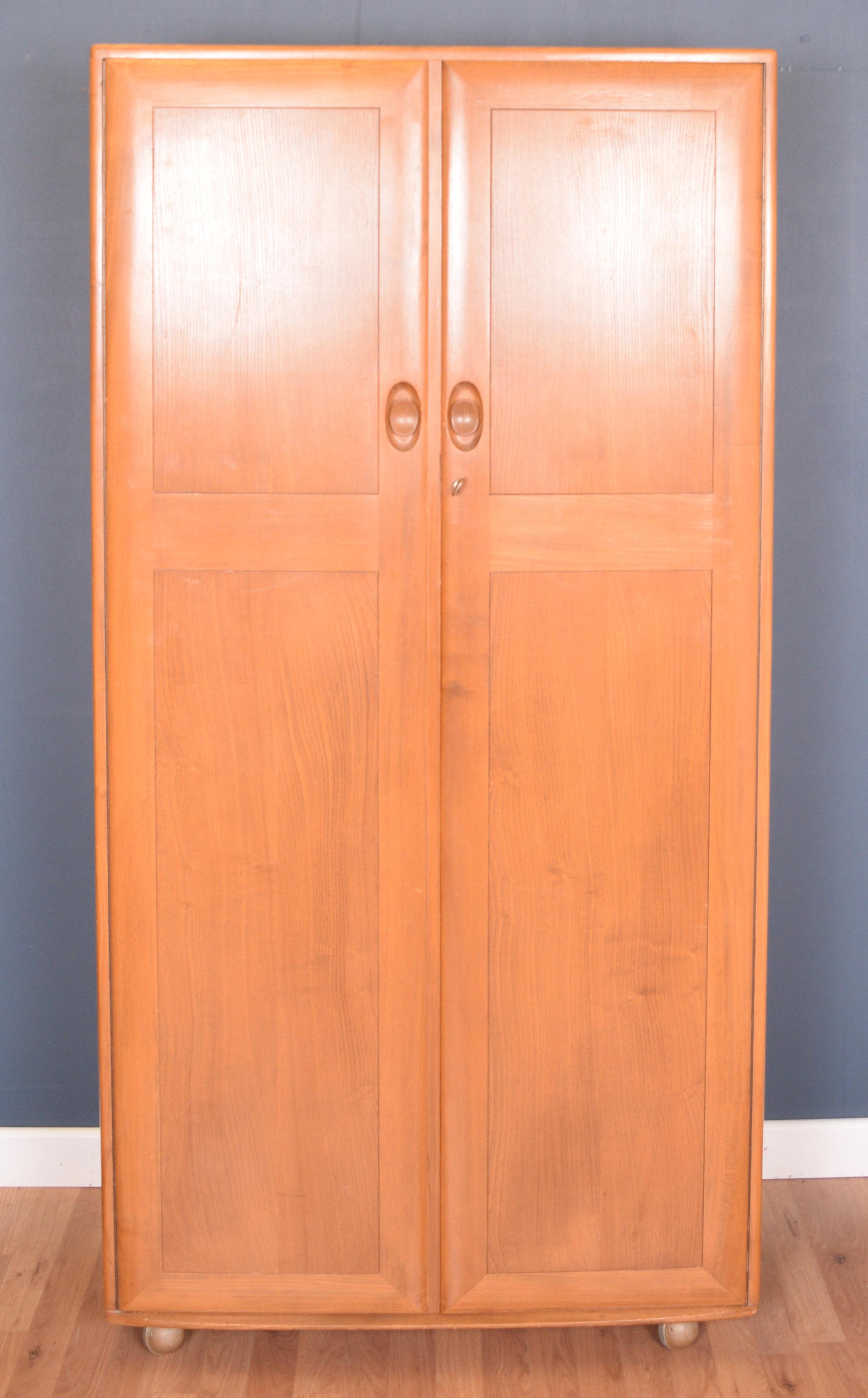 Vintage Blonde Ercol 480 Windsor Solid Elm Wardrobe Ercol Vinterior