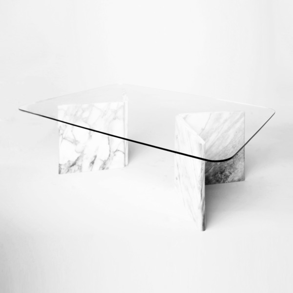 Carrara Marble Coffee Table With Glass Top