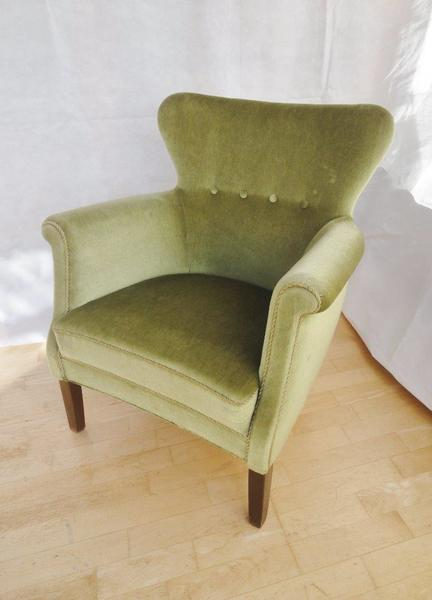 Mid Century Retro Danish Easy Lounge Armchair In Sage Green Upholstery 1950s 60s