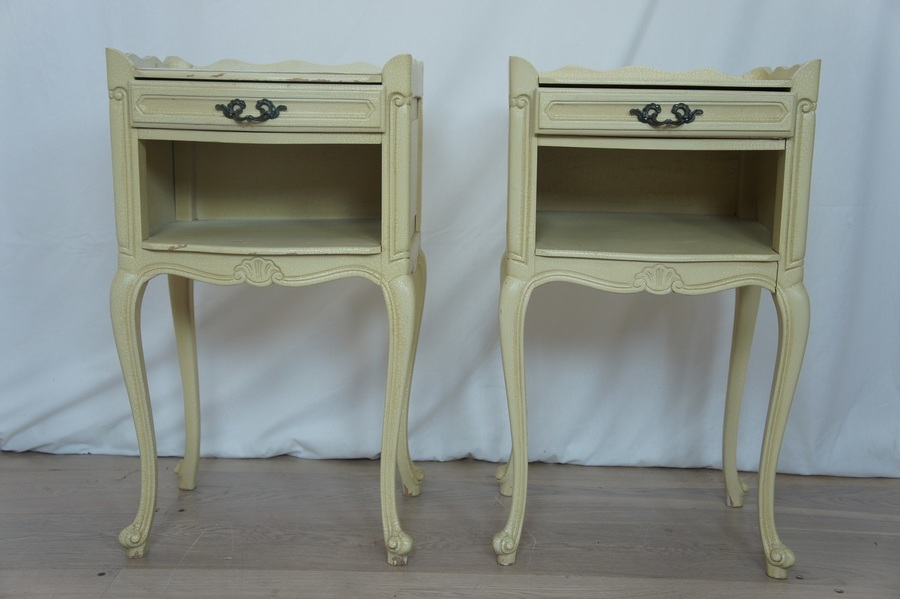 Pair French Crackle Glaze Bedside Tables