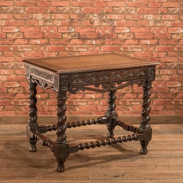 Victorian Jacobean Revival Oak Side Table, C.1880