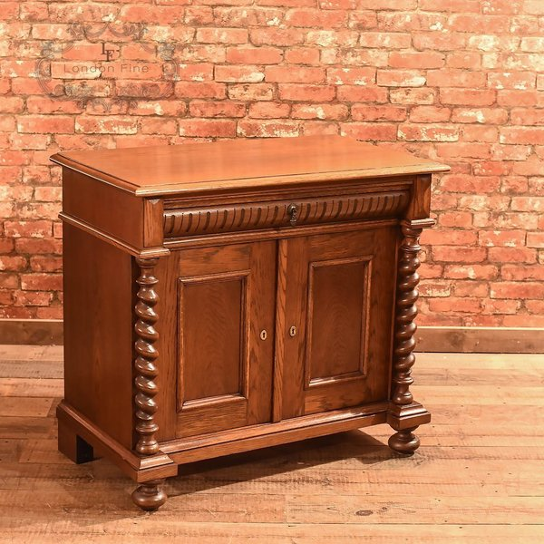 Antique French Oak Two Door Cabinet, C.1910