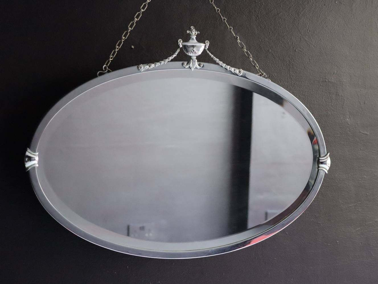 Chrome Art Deco Antique Large Wall Mirror Decorative Silver Framed With Ornate Silver Top Crest Side Crests Original Chain Vinterior