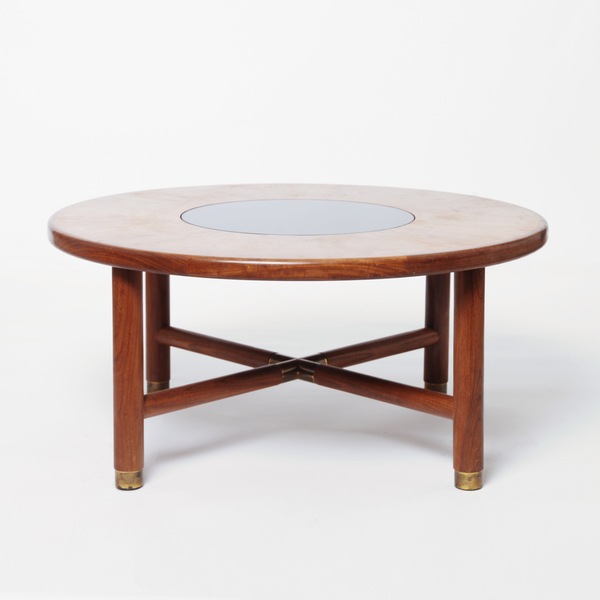 G Plan Round Coffee Table With Brass Accents & Glass Inset