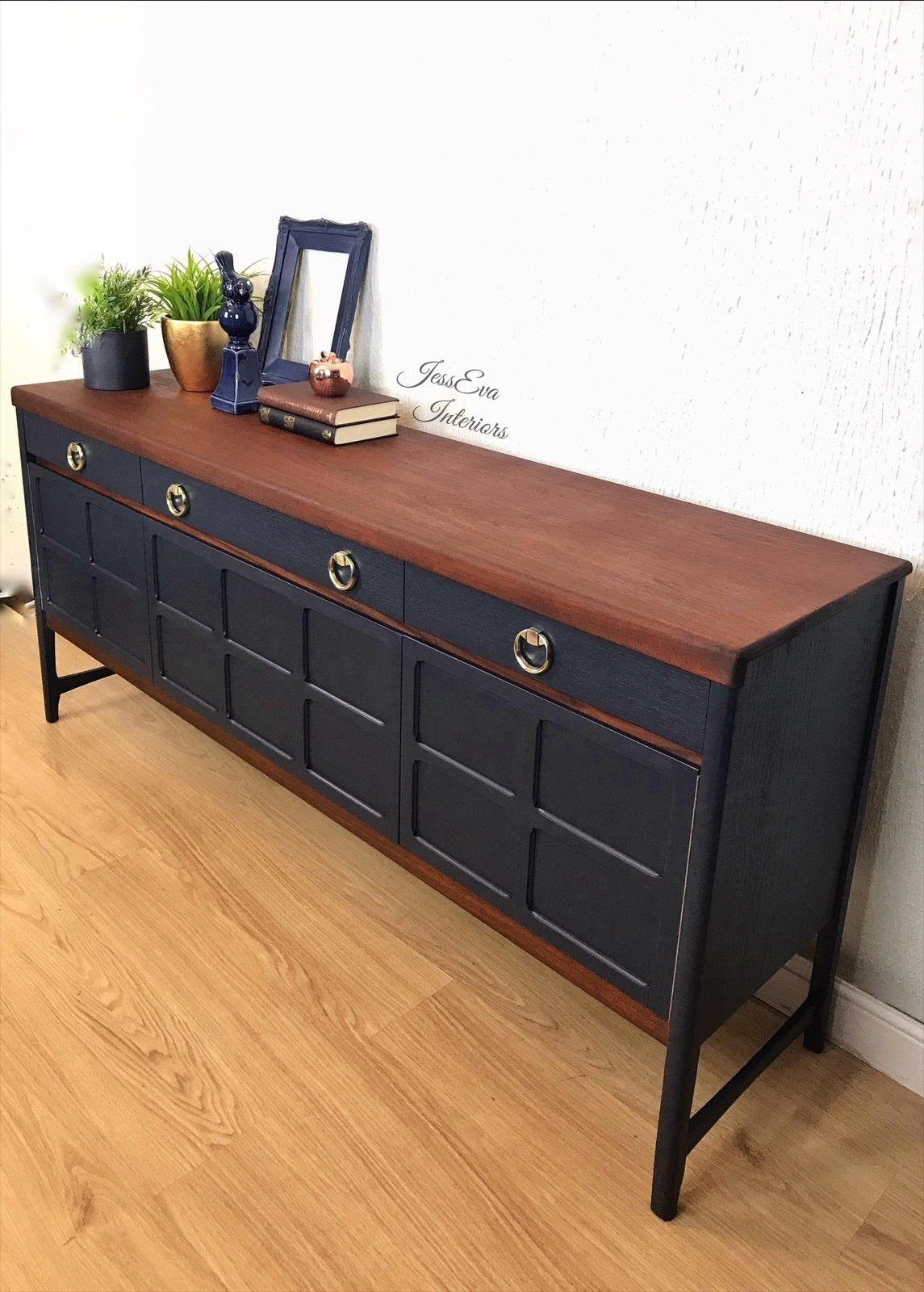 Picture of: Mid Century Modern Vintage Retro Mcm Upcycled Nathan Sideboard Drinks Cabinet Painted In Navy Blue Nathan Vinterior