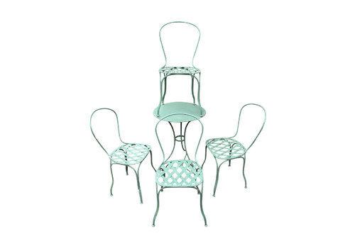 Set 4 19c French Iron Garden Chairs