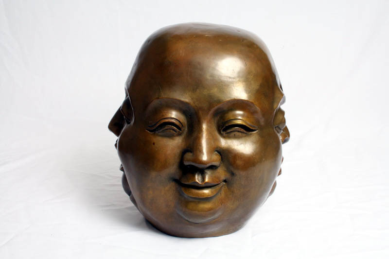 Bronze Four Face Buddha Brahma Hindu Sculpture photo 1