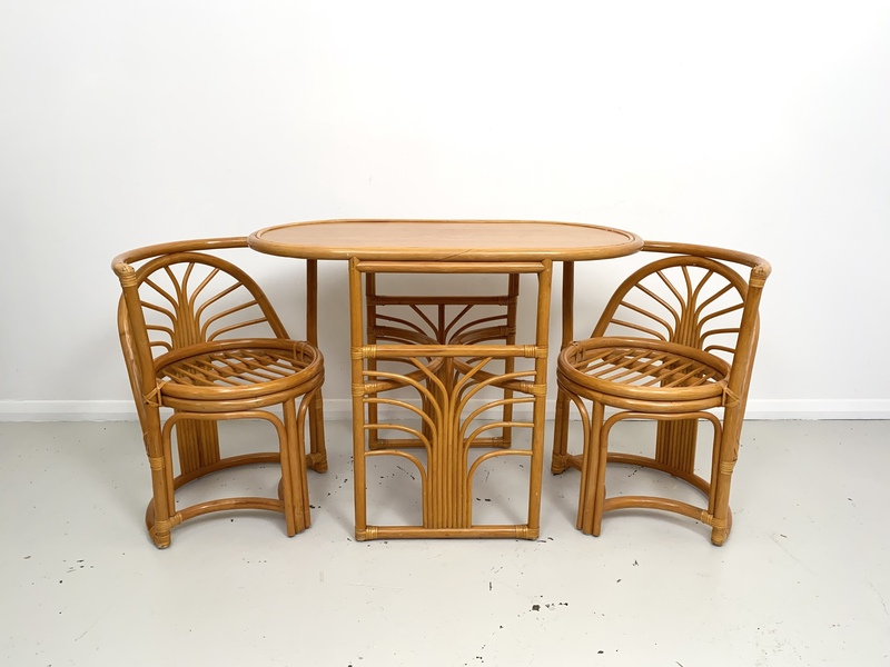 Compact Bamboo Table And Chairs Set Not Known Vinterior